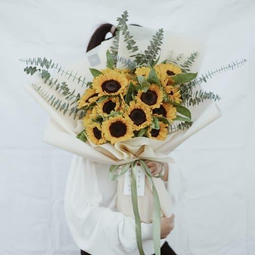 ช่อดอกไม้ ดอกทานตะวัน สีเหลือง ดอกไม้รับปริญญา ขนาดใหญ่