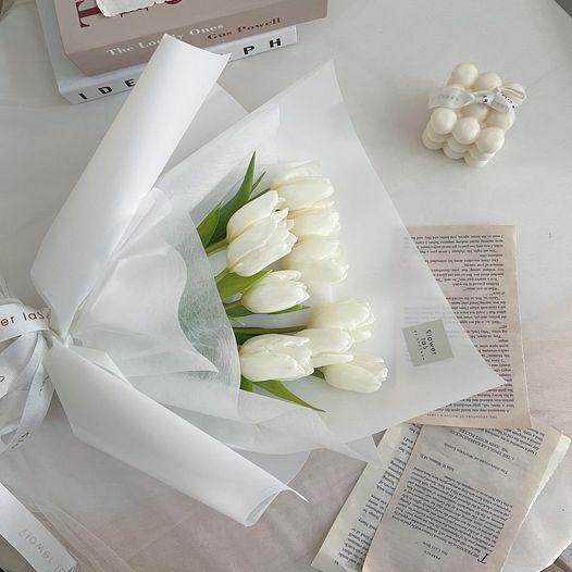 ช่อดอกไม้ ดอกทิวลิปสีขาว Tulip Bouquet